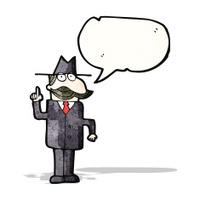 cartoon detective with speech bubble solving case