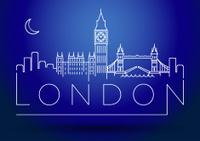 London City Skyline Silhouette Typographic Design