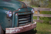 This is an unrestored pickup truck near drumheller.