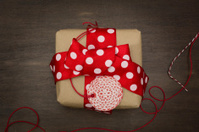 gift box handmade dotted red tape and label,