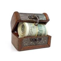 treasure box with money roll