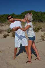 Mocking quarrel at the beach