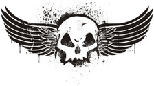 Stencil skull with wings