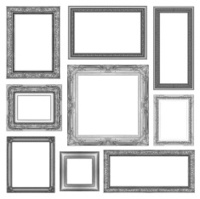 set of Vintage gray frame with blank space, clipping path