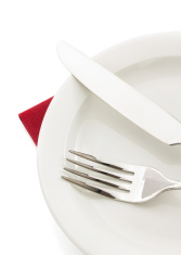 knife and fork on white