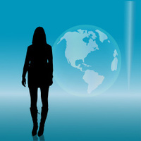 Vector silhouette of businesswoman.