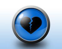 Broken heart icon. Circular glossy button.