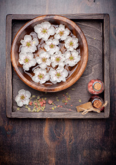 Manicure. spa. Flowers in bowl with water, essential oils