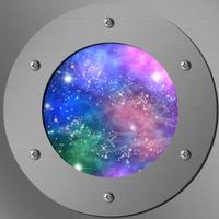 porthole with a nightly sky