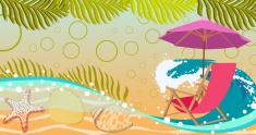Sunbathing in beach background