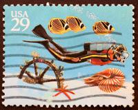 scuba diving stamp