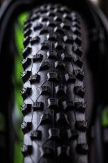 close-up of a green mountain bike