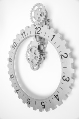 Grey clock with gears