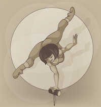 Pinup circus artist. silhouette, inkpen. Balancing