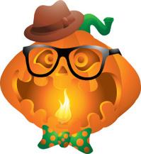 Hipster pumpkin halloween