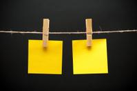 Blank sticky notes on a rope
