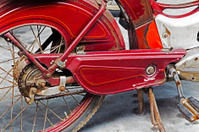 Detail of a rusty old motorbike