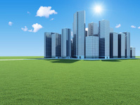 Modern Business City on beautiful landscape with sun and clouds