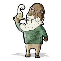 cartoon old man smoking pipe