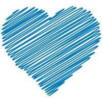 Scribbled blue heart