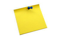 Yellow notepaper with pin