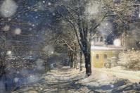 snowfall night in town