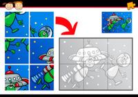 cartoon aliens jigsaw puzzle game