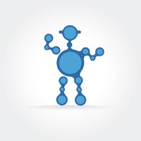 Abstract blue robot vector icon concept. Logotype template for b