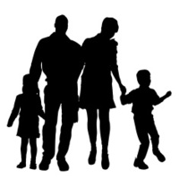 Vector Silhouette Of Family