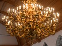 golden chandelier on white background