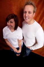 orange curtain sibling portraits