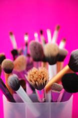 Multitude of make up brushes.