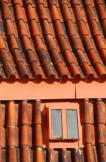 Rad terracotta roof tiles, Prague