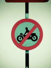 No motorcycles roadsign