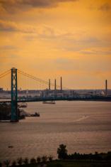 Detroit River and the Ambassador Bridge at Sunset