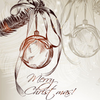 Hand drawn Christmas card with fur branch and bauble