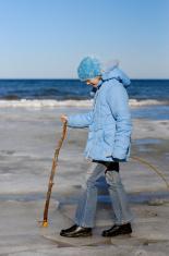 Girl walking at Baltic-Sea