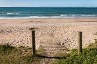 wooden poles on sandy beach