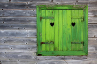 Green window of a wooden hut in the Alps