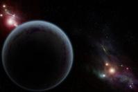 Digital created starfield with dark planet