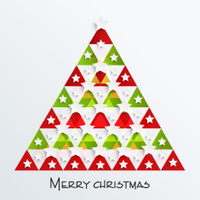 Beautiful and colorful Xmas tree design decorated with silver st