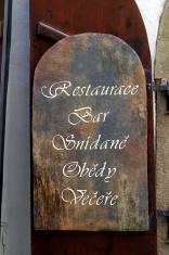 Restaurant Bar Sign Prague Czech Republic
