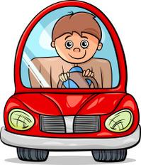 boy in car cartoon illustration