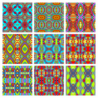 set of different seamless colored vintage geometric pattern