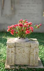 gravestone with flowers