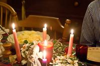 Advent wreath at the Christmas dinner table