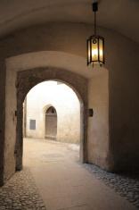 Passageway with light.