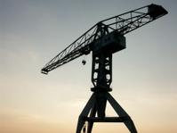 Big crane at sunset