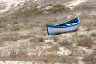Old wooden boat on the dry shore