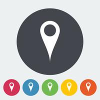 Map pointer single flat icon.